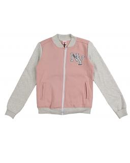 Bluza bejsbolówka w różowym kolorze z popielatymi rękawami