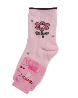 Dziewczęce skarpetki w różowym kolorze z kwiatuszkiem
