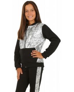 Bluza dziewczęca ze srebrnymi wstawkami na zamek dla dziewczynki