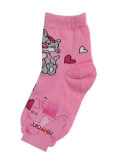 Skarpety z wysokiej jakości materiałów w różowym kolorze z kotkiem