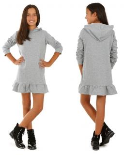 Sukienka w szarym kolorze z kapturem i falbaną na dole dla dziewczynki
