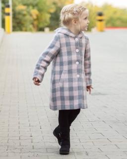 Płaszcz w szaro-różową kratkę z kapturem dla dziewczynki na zimę