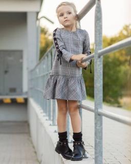 Sukienka w kratkę z ozdobnym lampasem na rękawach dla dziewczynki