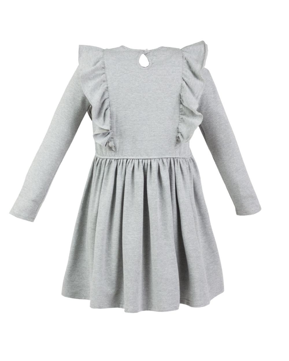 b4174da9c2a1e4 Sukienka z długim rękawem ozdobiona koronką falbanami dla dziewczynki tył