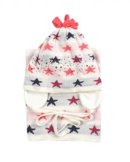 Komplet czapka i komin dla dziewczynki wiązany pod szyją z nausznikami