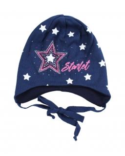 Czapka dla dziewczynki wiązany pod szyją ozdobiona gwiazdkami