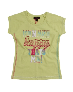 Bawełniana zielona koszulka z krótkim rękawem dla dziewczynki