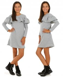 Sukienka dziewczęca z długim rękawem i falbanami na przodzie i tyle