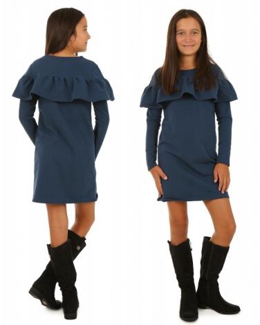 Sukienka hiszpanka z falbanami i długim rękawem dla dziewczynki