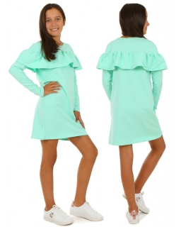 Sukienka z długim rękawem i falbanami 116-158 KRP176 miętowa