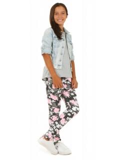 Spodnie baggy z zamkiem na przodzie moro w kwiaty dla dziewczynki