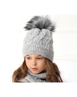 Pleciony komplet czapka i szalik dla dziewczynki