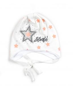 Czapka dla dziewczynki wiązana pod szyją z gwiazdkami i cyrkoniami