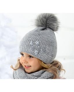 Komplet czapka i komin z błyszczącą niktą dla dziewczynki