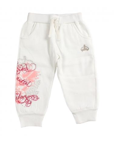 Bawełniane spodnie dresowa z aplikacją na nogawce dla dziewczynki