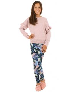 Wzorzyste legginsy w kolorowe motyle i kwiaty dla dziewczynki