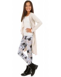 Szare legginsy z wzorem w psy dla dziewczynki