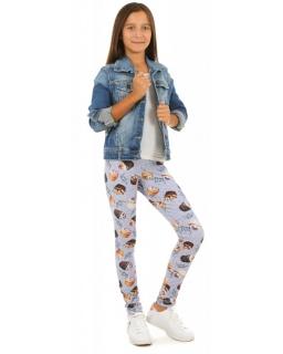 Legginsy z nadrukiem w postaci kolorowych babeczek dla dziewczynki