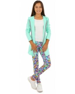 Legginsy z nadrukiem w postaci kolorowych liści dla dziewczynki