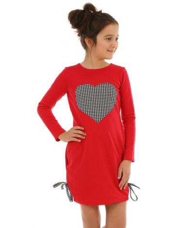Sukienka dla dziewczynki z wpuszczonymi kieszeniami i ozdobnym sercem