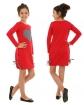 Sukienka dla dziewczynki z wpuszczonymi kieszeniami i ozdobnym sercem tył i bok