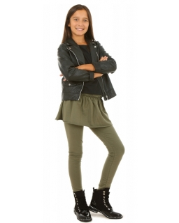 Bawełniane legginsy połączone ze spódniczką dla dziewczynki