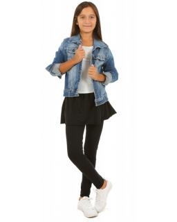 Bawełniane legginsy ze spódniczką dla dziewczynki do szkoły