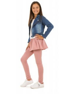 Bawełniane legginsy połączone ze spódniczką mini dla dziewczynki