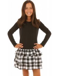 Sukienka z kraciastymi falbanami 116-158 KRP65 czarny plus biały