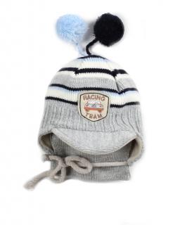 Wiązana czapka i szalik dla chłopca 44 Albert szara