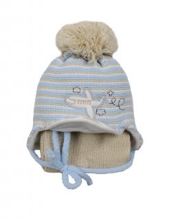 Czapka z pomponem wiązana pod szyją z szalikiem w zestawie dla chłopca
