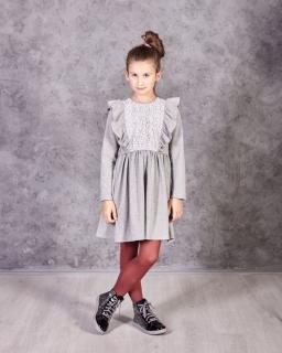 Sukienka z długim rękawem ozdobiona koronką falbanami dla dziewczynki tył