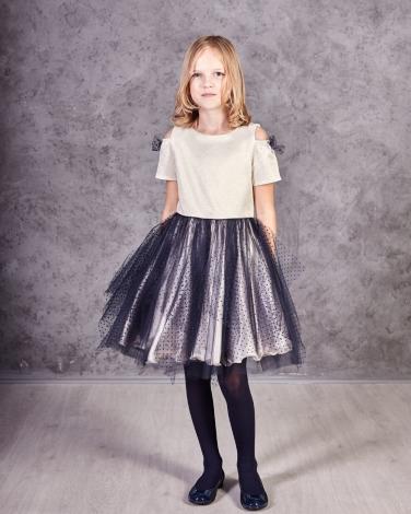 87a46f49e6 Złoto-granatowa sukienka z tiulowym dołem dla dziewczynki