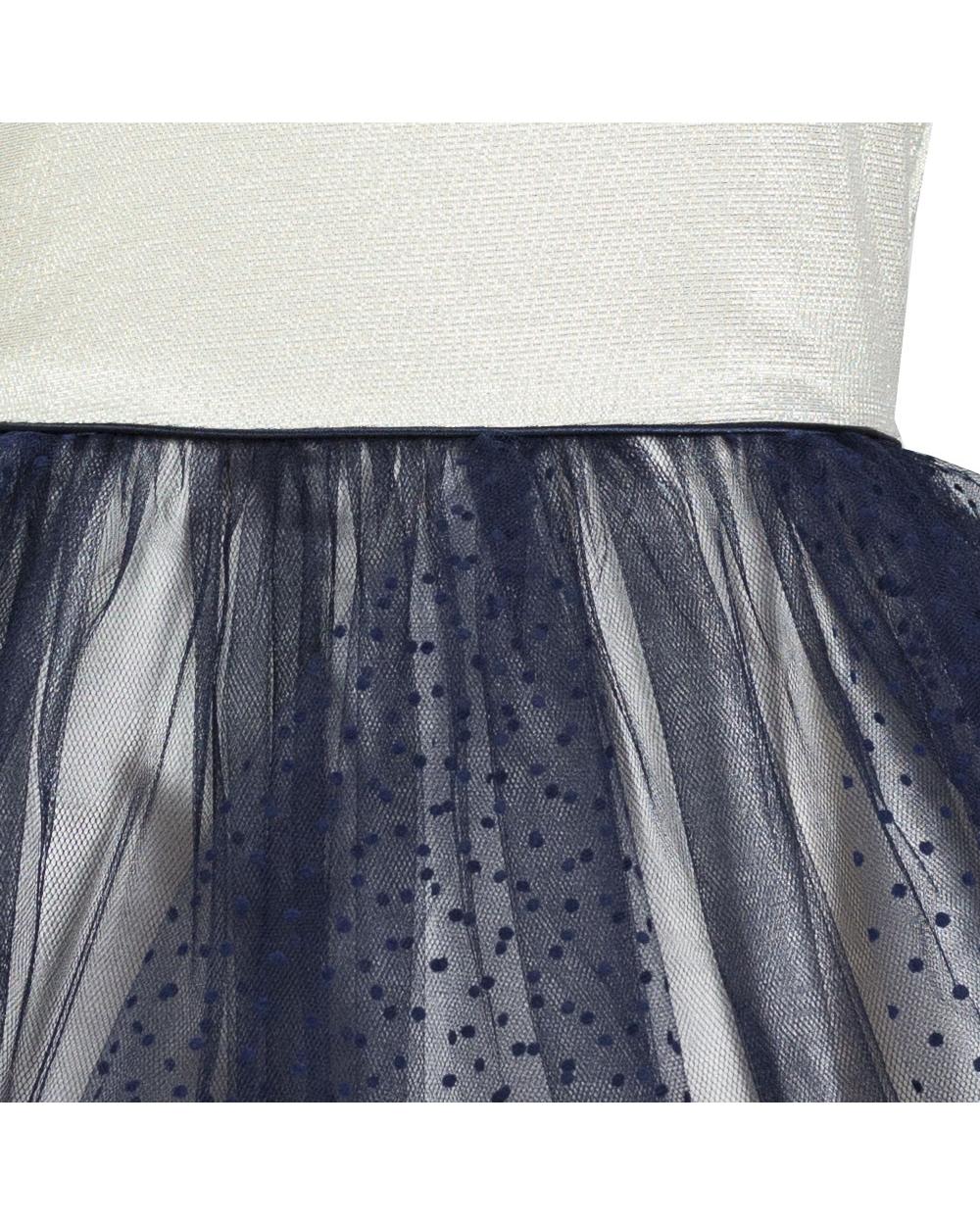 104a527c6b Złoto-granatowa sukienka z tiulowym dołem dla dziewczynki materiał