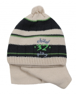 Czapka z pomponem i szalik dla chłopca na sezon jesienno-zimowy