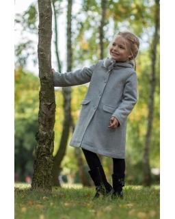 Płaszcz dziewczęcy na sezon jesienno-zimowy z kapturem i kieszeniami