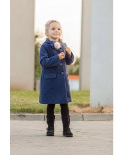 Płaszczyk jesienno-zimowy dla dziewczynki z ozdobym pomponem