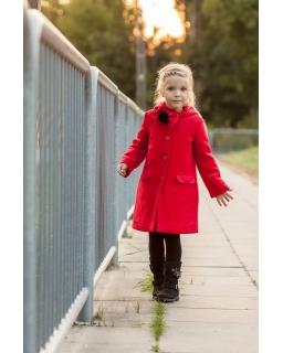 Dziewczęcy płaszcz jesienno-zimowy z pomponem pod szyją i kapturem