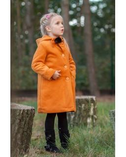Ocieplany płaszcz z kapturem i ozdobnym pomponem dla dziewczynki