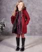 Ciepły płaszcz z modnym zapięciem 116-152 Doris bordowy widok przód