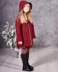 Ciepły płaszcz z modnym zapięciem 116-152 Doris bordowy widok z boku