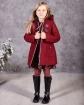 Ciepły płaszcz z modnym zapięciem 116-152 Doris bordowy widok z przodu z rozpietym zamkiem