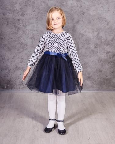 87a66fcd064eb2 Sukienka z tiulowym dołem i długim rękawem dla dziewczynki