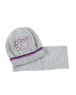 Komplet czapka z szalikiem 50 Zuzia szary