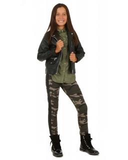 Ocieplane moro legginsy ze skórzaną wstawką dla dziewczynki