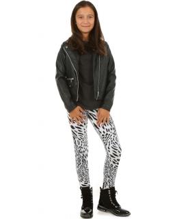 Ocieplane legginsy z nadrukiem w panterkę dla dziewczynki