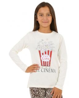 Bluzka z nadrukiem na przodzie dla dziewczynki 116-164 KRP194 ecru