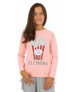 Dziewczęca bluzka z nadrukiem i perełkami 116-164 KRP194 morela
