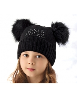 Ciepła zimowa czapka z pomponami