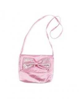 Atłasowa torebka z dużą kokardą z długim paskiem dla dziewczynki